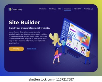 Constructor of web pages and websites. People in the flat 3d isometric style collect a site from blocks. Creative team at work, they are developing a responsive website. Modern template for website.