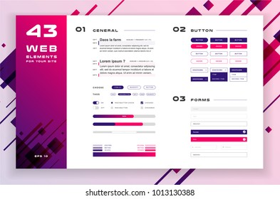 Constructor for your site, ui kit. Flat design web elements: icons, forms, button, infographic, check box, radio button, switch button, loading, status bar, text and color setting. Abstract background