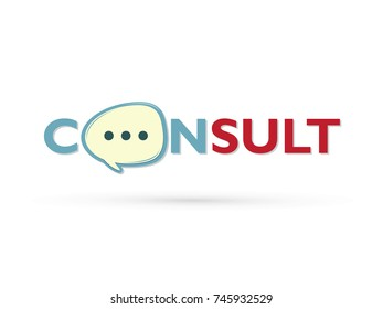 Consult and speak balloon design graphic vector.