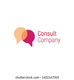 Consult vector logo. Speech bubble template for consulting company. Vector illustration isolated on a white background. Design business logo. Speech bubble for banner, cover, poster or placard.