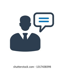 Consultant, customer service, customer support, help icon, Management consulting vector icon. Illustration isolated on white background, man and a speech bubble. information. monochrome icon
