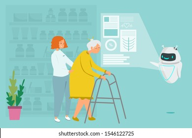 Consultant robot at pharmacy checkout counter vector. Instead of a man, a robot works in pharmacy, сoncept of replacing human labor and smart pharmacy. Robot helps an old woman buy medicine