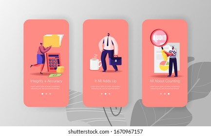 Consulting Auditors Service, Auditing Financial Report Mobile App Page Onboard Screen Template. Tiny People Characters Analysing Business Company Balance Statement Concept. Cartoon Vector Illustration