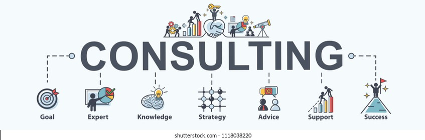 Consulting banner web icon for business, goal, planing, Advice, expert, strategy, support and success. Minimal vector infographic.