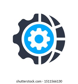 Consulting in business, assistance, business optimization, customer support, customer service icon with settings sign, customize, setup, manage, process symbol