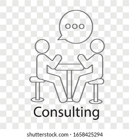 Consulting concept on transparency background. Creative idea design. Flat vector illustration for template, brochure or presentation.