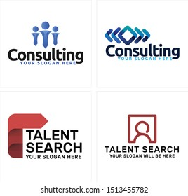Consulting design logo with people arrow square blue red vector suitable for business employee finder provider company