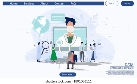 consulting diagnose covid 2019 a doctor online using his computer, telemedicine and online doctor concept illustration infographic template.