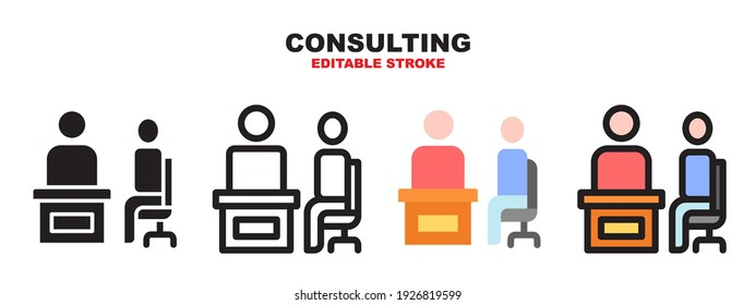 Consulting icon set with different styles. Colored vector icons designed in filled, outline, flat, glyph and line colored. Editable stroke style can be used for web, mobile, ui and more.