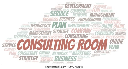 Consulting Room typography vector word cloud.