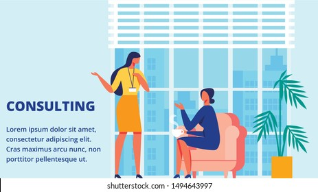 Consulting Time for Client. Training for Women. Vector Illustration. Room with Blue Interior. Communication Coach in Yellow Dress and Client. Woman Sitting on Chair. Lead Discussion.