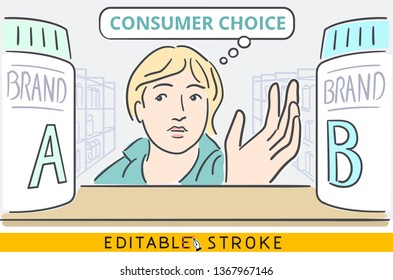 Consumer choice or customer choice concept situation. Woman choosing between two similar brands of goods on supermarket shelf inside supermarket interior. Easy editable stroke line vector. Hand drawn.