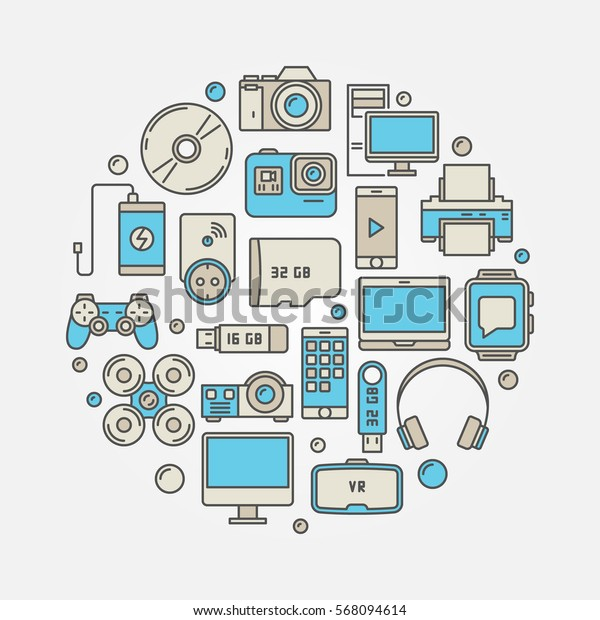 Consumer electronics and gadgets illustration. Vector circular colorful sign made with device icons