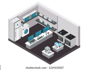 Consumer electronics store interior isometric background with small and large household appliances vector illustration