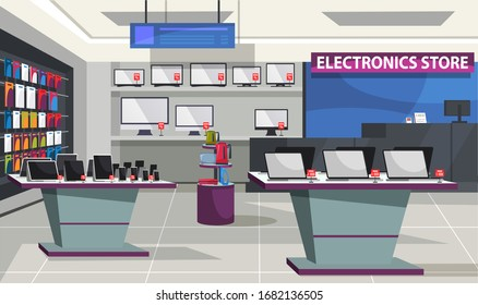 Consumer electronics store interior. Showcase and shelves with laptop computer, digital tablet, mobile phones and television. Information board hanged on ceiling, workplace for shop assistant