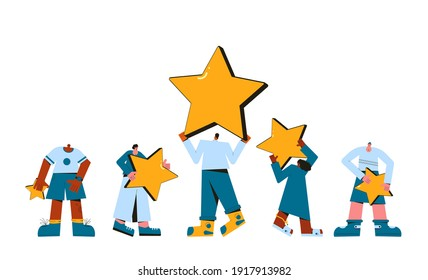 Consumer experience. Product review. Feedback. Happy clients. People holding stars in their hands isolated on white background. Service rating. Satisfaction level. Vector flat illustration.