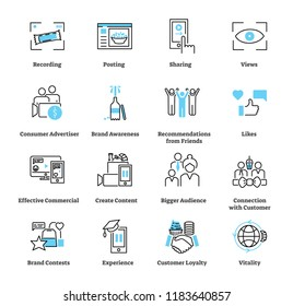 Consumer generated advertising icon collection set. Pictogram vector illustration about brand popularization by customer with posting, sharing, likes, loyalty and views.