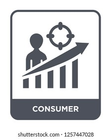consumer icon vector on white background, consumer trendy filled icons from Marketing collection, consumer simple element illustration
