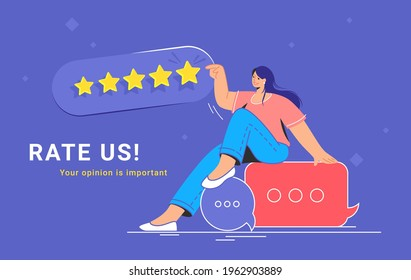 Consumer review and 5 stars rating. Flat vecor illustration of smiling woman sitting on speech bubbles and pointing to five stars as a rating result. Customer feedback and positive rating for goods