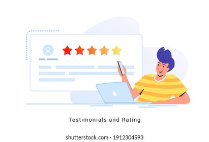 Consumer review for comment and rate a service or goods. Flat smiling man sitting with laptop and smartphone reading testimonials or leaving comment. Customer feedback and rating 5 stars on white