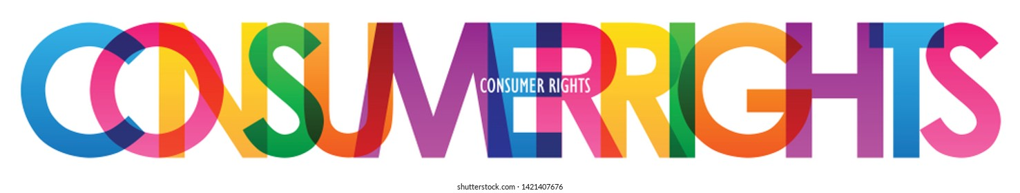 CONSUMER RIGHTS colorful vector typography banner