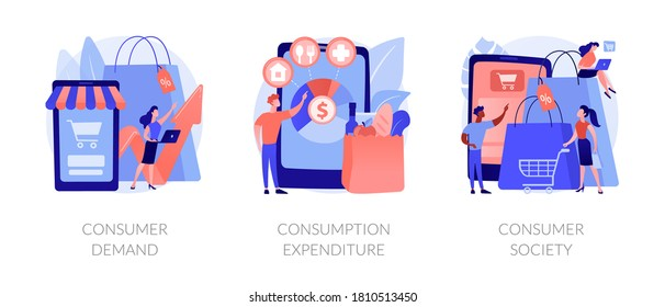 Consumer society abstract concept vector illustration set. Consumer demand, consumption expenditure, customer decision, retail marketing, household budget, shopaholic, spending abstract metaphor.