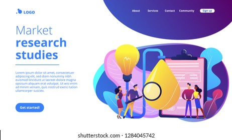 Consumers with magnifier testing new product properties. Product testing, customer needs identification, market research studies concept. Website vibrant violet landing web page template.