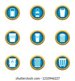 Consumption basket icons set. Flat set of 9 consumption basket vector icons for web isolated on white background
