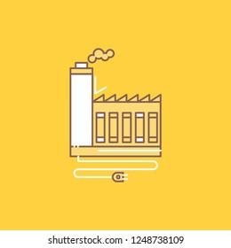 Consumption, resource, energy, factory, manufacturing Flat Line Filled Icon. Beautiful Logo button over yellow background for UI and UX, website or mobile application