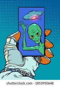 Contact with an alien mind. Friendly alien green man. Pop art retro illustration kitsch vintage 50s 60s style