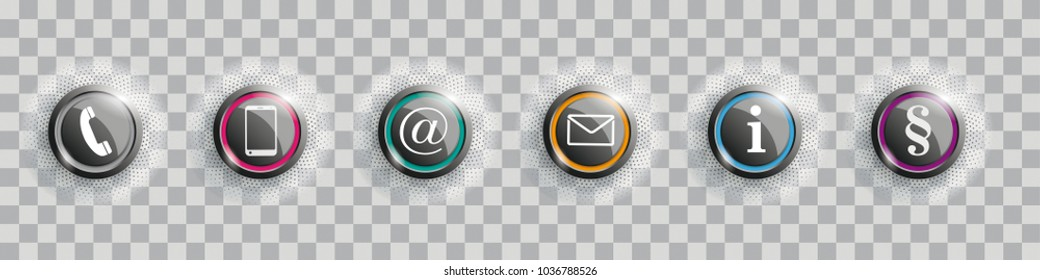 Contact buttons with halftone on the checked background. Eps 10 vector file.