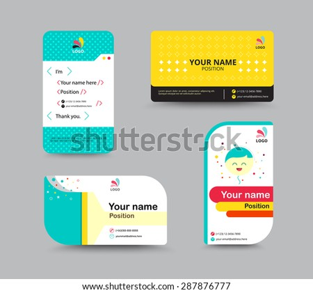 Contact Card Template Business Name Design Set Include Sample Text For Replace Content