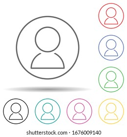 Contact in circle multi color set icon. Simple thin line, outline vector of web icons for ui and ux, website or mobile application