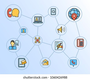 contact and communication concept network diagram in blue background
