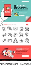Contact and communication with flat icon set and illustrations - vector collection.