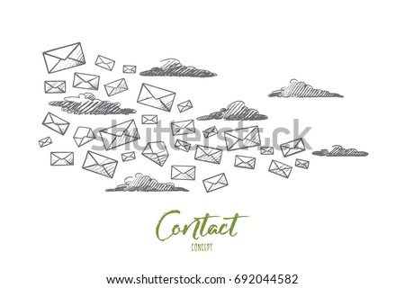 Contact Concept Hand Drawn Flying Letters Stock Vector Royalty Free