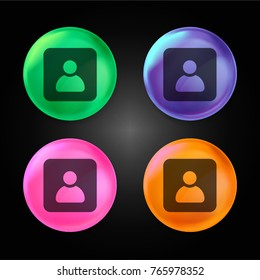 Contact crystal ball design icon in green - blue - pink and orange.