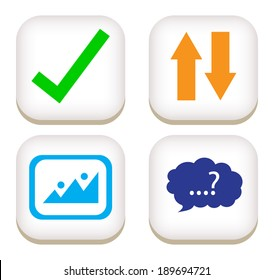 Contact flat button icons. vector / illustration