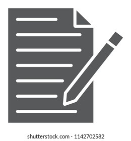 Contact form glyph icon, paper and pen, blank sign, vector graphics, a solid pattern on a white background, eps 10.