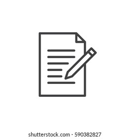 Contact form line icon. Write, edit outline vector sign, linear style pictogram isolated on white. Symbol, logo illustration. Editable stroke. Pixel perfect