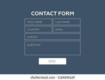 Contact form. Web element. Contact form vector template