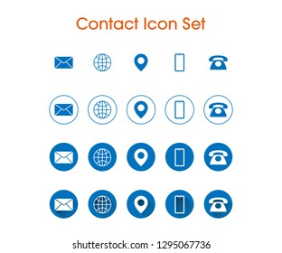 Contact Icon Set with 4 different styles. Flat Icon, Long Shadow. Business Card Information Icons.