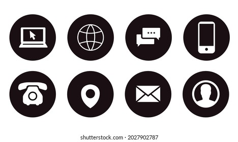 Contact Icon Set. Black and White Illustration of Differente Contect icons