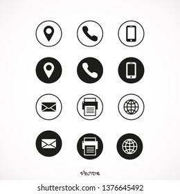 Contact icon set vector