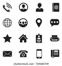 Contact Icons. Black Flat Design. Vector Illustration.