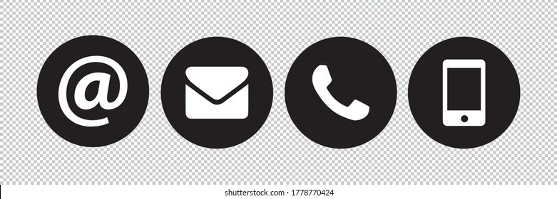 Contact icons buttons set on transparent background. Retro phone, mail, at symbol and Smartphone Simple contact signs in flat style on white background. Vector illustration. Eps 10 vector file.