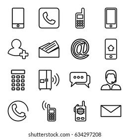 Contact icons set. set of 16 contact outline icons such as call, mail, phone, add friend, support, letter, home on phone display, intercom, chat, walkie talkie