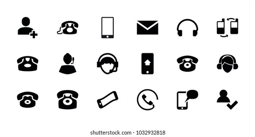 Contact icons. set of 18 editable filled contact icons: desk phone, mail, add user, wavy phone, support, headset, operator, call