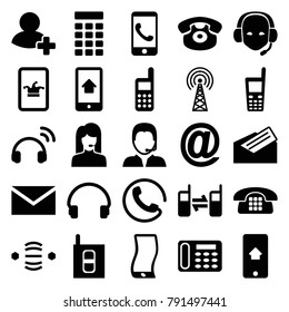 Contact icons. set of 25 editable filled contact icons such as call, poker on phone, mail, desk phone, headset, add friend, at mail, support, letter, intercom, signal tower