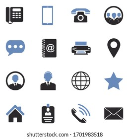 Contact Icons. Two Tone Flat Design. Vector Illustration.